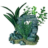 Blue Ribbon Resin Rock Arch with Plants Aquarium Ornament, Small