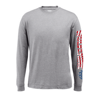 Wolverine Men's Long Sleeve Graphic Tee - Ash with Flag Graphic