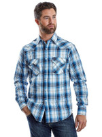 Mens Wrangler Retro Blue/White Plaid Long Sleeve Button Up Shirt