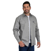 Wrangler® Cowboy Cut® Flannel Lined Mens Work Shirt - Grey