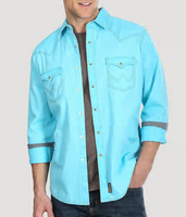 Men's Wrangler® Contrast Trim Western Two Snap Flap Pocket Shirt - Turquoise