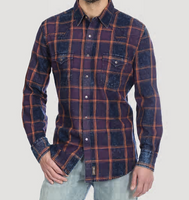 Men's Wrangler Retro®  Long Sleeve Snap Shirt - Indigo Plaid