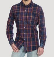 Men's Wrangler Retro®  Long Sleeve Snap Shirt - Indigo Plaid