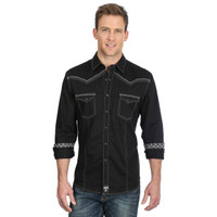 Wrangler Men's Rock 47 Vintage Black Snap Western Shirt - Black
