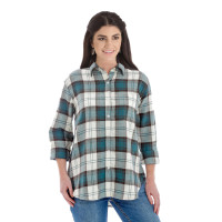Wrangler Women's Long Sleeve Boyfriend Fit Button Down Plaid Flannel Top - Green/Ivory Plaid