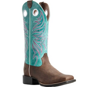 Ariat Women's Round Up Ryder Western Boot - SASSY BROWN/MIAMI BLUE