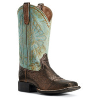 Ariat Women's Round Up Rio Western Boot - DARK BRONZE/JADE