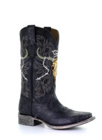 Corral Men's Black Skull Overlay Embroidery Square Toe Cowboy Boot