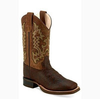 Old West Kid's Brown and Tan Square Toe Boot