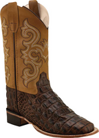 Old West Children's Faux Gator Foot Western Boots Brown