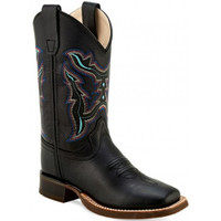 Old West Youth's Black Multi Color Stitch Square Toe Western Boots