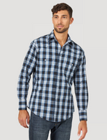 Wrangler Men's Wrinkle Resist Long Sleeve Western Snap Plaid Shirt - Blue/Black
