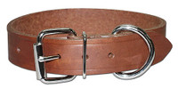 "Leather Brothers Leather Bully Dog Collar 1"" Brown"