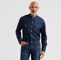 Levi Men's Barstow Western Shirt – Dark Rinse Blue