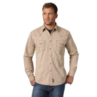 Wrangler® Men's Contrast Trim Western Two Snap Flap Pocket Long Sleeve Shirt