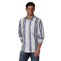 Wrangler® Retro® Long Sleeve Western Snap Printed Shirt Blue/Grey