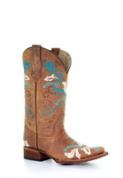 Circle G Women's Tan Floral Embroidery Square Toe Western Boot