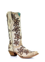 Corral Women's Bone Overlay with Crystals Snip Toe Western Boot