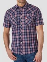 Wrangler Men's Retro® Short Sleeve Snap Pocket Plaid Shirt - Navy