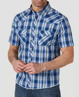 Wrangler Men's Fashion Short Sleeve Western Snap Plaid Shirt