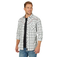Wrangler Men's Rock 47® Decorative Stitiching Plaid Western Snap Shirt