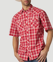 Wrangler Men's 20X Competition Red Plaid Short Sleeve Button Down