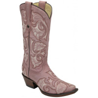 Corral Women's Pink Floral Embroidered Cowboy Boots