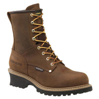 "Carolina Men's 8"" Steel Toe Waterproof Logger Work Boots - Brown"