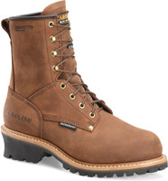 "Carolina Men's 8"" Steel Toe Waterproof Insulated Logger Work Boots - Brown"