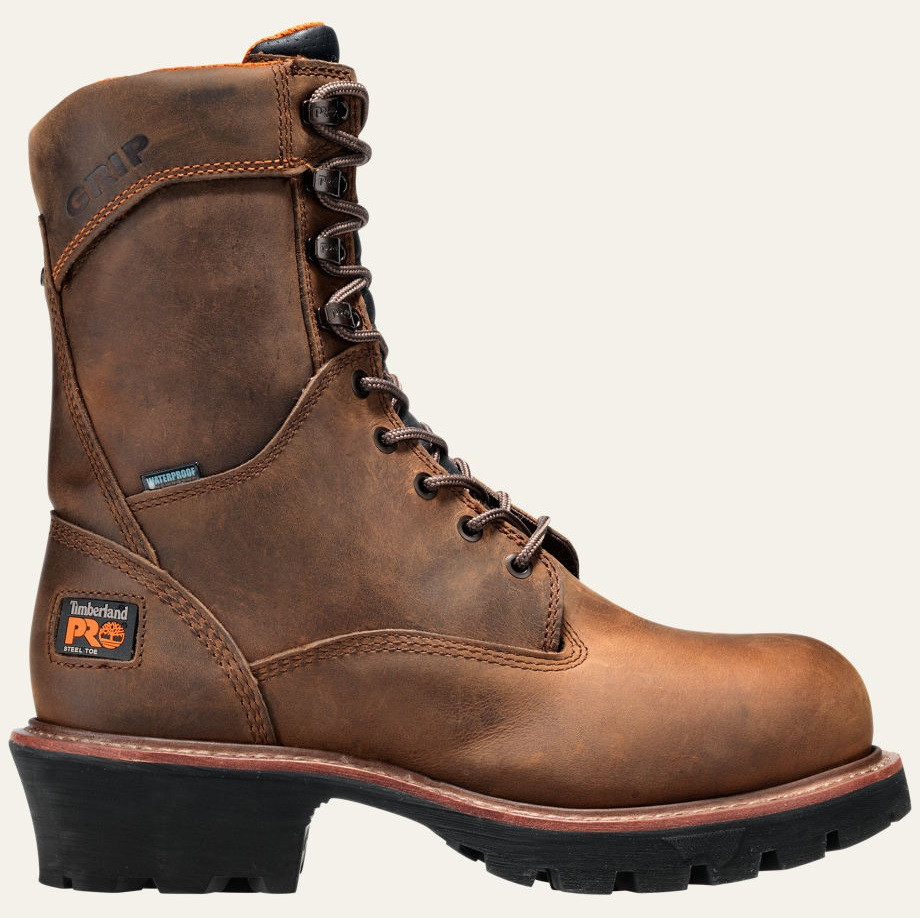 e8af81785b3 Timberland Pro Men's 8in Rip Saw Logger Steel Toe Waterproof Work Boots -  Brown