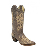 Corral Women's Dahlia Embroidery Cowboy Boots - Brown/ Beige