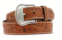 Nocona Men's Belt with Floral Emboss Western Buckle - Tan