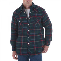 Wrangler Men's Long Sleeve Flannel Plaid With Quilted Lining
