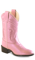 Jama Old West Youth Metallic Cowboy Boots - Pink