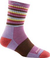 Darn Tough Women's Stripes Micro Crew Cushion Socks - Plum