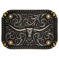Montana Silversmiths Two-Tone Longhorn Traditional Attitude Buckle