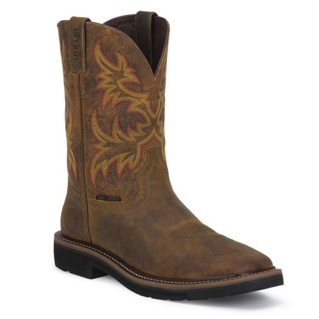 Justin Men S Men S Rugged Tan Cowhide Stampede Steel Toe