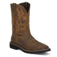 Justin Men's Men's Rugged Tan Cowhide Stampede Steel Toe Work Boots - Brown