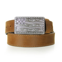 American Flag Buckle Tan Belt