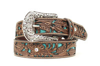 Ariat Women's Tooled Belt Turquoise
