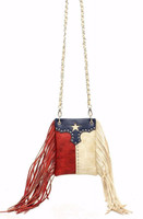 Blazin Roxx Texas Flag with Studs & Fringe Cross Body Purse