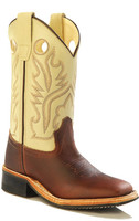 Jama Old West Child Broad Square Toe Cowboy Boots - Rust
