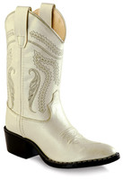 Jama Old West Child J Toe Silver Cowboy Boots - White