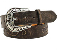 Nocona Women's Scroll Large Round Concho Belt - Black