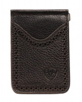 Ariat Western Men's Wallet Leather Card Case Clip Medium Black