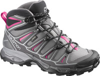 Salomon Women's X Ultra Mid 2 Gtx - Light Grey With Pink