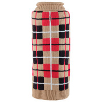 Oxford Plaid Tan Roll Neck Dog Sweater - Tan