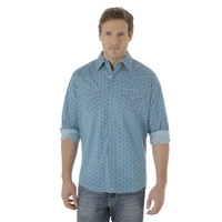 Wrangler Men's  20X Long Sleeve Western Snap Print Shirt