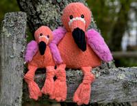 HuggleHounds Plush Durable Corduroy Flamingo Knottie