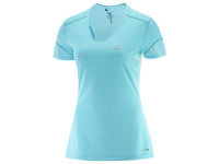 Salomon Women's Trail Runner Shot Sleeve TEE - Blue Radiance